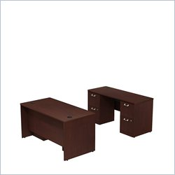 Bush BBF Quantum 60W X 30D Double Pedestal Desk and Credenza in Harvest Cherry