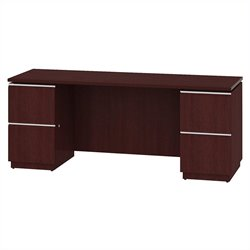 Bush BBF Milano2 72W Double Pedestal Kneespace Credenza in Harvest Cherry