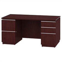 Bush BBF Milano2 60W Double Pedestal Desk 2Dwr and 3Dwr in Harvest Cherry