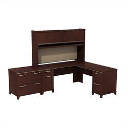 Bush BBF Enterprise 72W X 72D L-Desk with Hutch and Lateral File in Harvest Cherry