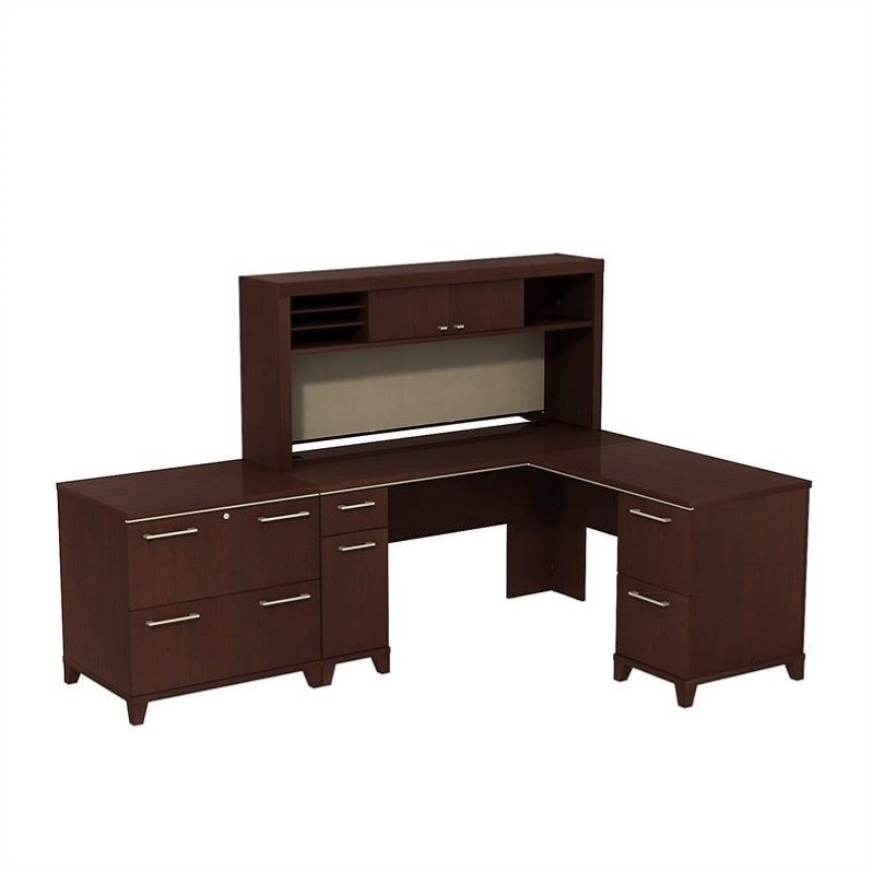 Bush BBF Enterprise 60W X 60D L-Desk with Hutch and Lateral File in Harvest Cherry