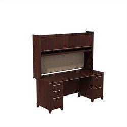 Bush BBF Enterprise 72W X 30D Double Pedestal Desk with Hutch in Harvest Cherry