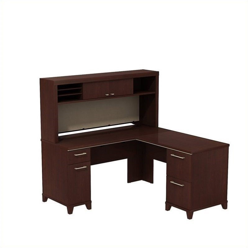 Enterprise 60W X 60D L-Desk With Hutch In Harvest Cherry