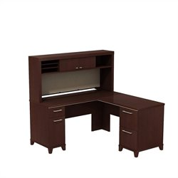 Bush BBF Enterprise 60W X 60D L-Desk with Hutch Storage in Harvest Cherry
