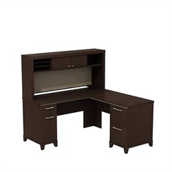 Bush BBF Enterprise 60W X 60D L-Desk with Hutch Storage in Mocha Cherry