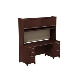 Bush BBF Enterprise 72W X 24D Double Pedestal Desk with Hutch in Harvest Cherry