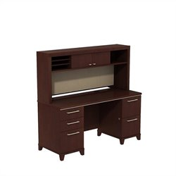 Bush BBF Enterprise 60W X 24D Double Pedestal Desk with Hutch in Harvest Cherry