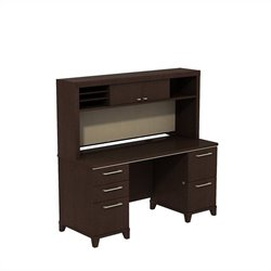 Bush BBF Enterprise 60W X 24D Double Pedestal Desk with Hutch in Mocha Cherry