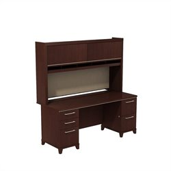 Bush BBF Enterprise 72W X 30D double Pedestal Desk with Credenza and Hutch in Harvest Cherry