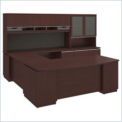 Bush BBF Milano2 72W x 36D Left-Handed 2Dwr Pedestal U Station Hutch 2Dwr File and Hutch in Harvest Cherry