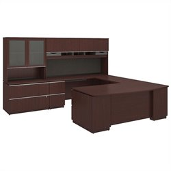 Bush BBF Milano2 72W x 36D Right-Handed 2Dwr Pedestal U Station Hutch 2Dwr File and Hutch in Harvest Cherry