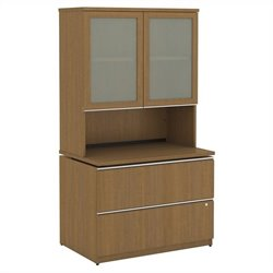 Bush BBF Milano2 36W 2 Drawer File and Hutch with Doors in Golden Anigre