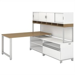 Bush BBF Momentum 60W X 30D Desk with 24H Open Storage 24H Piler Filer and 72W Hutch with Doors in  Modern Cherry
