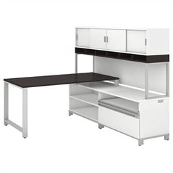 Bush BBF Momentum 60W X 30D Desk with 24H Open Storage 24H Piler Filer and 72W Hutch with Doors in Mocha Cherry