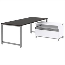 Bush BBF Momentum 72W X 30D Desk with 24H Piler Filer in Mocha Cherry