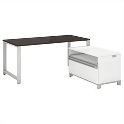 Bush BBF Momentum 60W X 30D Desk with 24H Piler Filer in Mocha Cherry