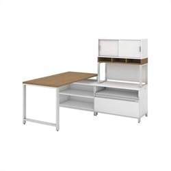 Bush BBF Momentum 60W X 30D Desk with 24H Open Storage 24H Piler Filer 36W Hutch with Doors and Riser in Modern Cherry