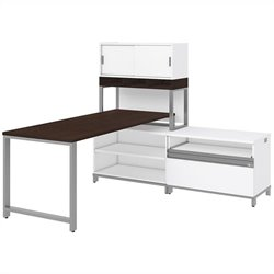 Bush BBF Momentum 72W X 30D Desk with 24H Open Storage 36W Hutch with Doors and Riser in Mocha Cherry