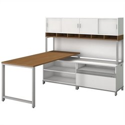 Bush BBF Momentum 72W X 30D Desk with 24 H Open Storage 24H Piler Filer and 72W Hutch with Doors in Modern Cherry