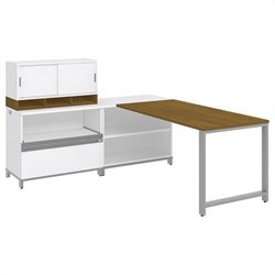 Bush BBF Momentum 60W X 30D Desk with 30H Open Storage 30H Piler Filer and 36W Hutch with Doors in Modern Cherry