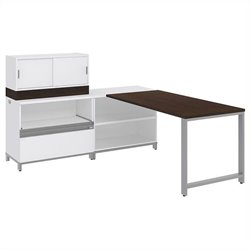 Bush BBF Momentum 60W X 30D Desk with 30H Open Storage 30H Piler Filer and 36W Hutch with Doors in Mocha Cherry