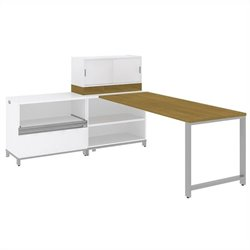 Bush BBF Momentum 72W X 30D Desk with 30H Open Storage 30H Piler Filer and 36W Hutch with Doors in Modern Cherry