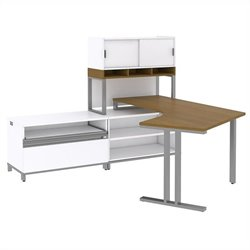 Bush BBF Momentum Floating Left-Handed L-Desk with Open Storage Piler-Filer and Hutch on Riser in Modern Cherry