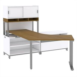 Bush BBF Momentum Floating Right-Handed L-Desk with Open Storage Piler-Filer and Hutch on Riser in Modern Cherry