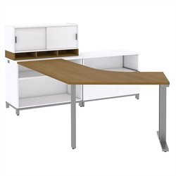 Bush BBF Momentum Right-Handed L-Desk with 30H Open Storage and 36W Hutch in Modern Cherry