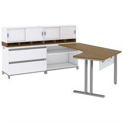 Bush BBF Momentum Left-Handed L-Desk with Glass Panels Storage 2 36W Hutches and Lateral File in Modern Cherry