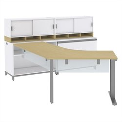 Bush BBF Momentum Right L-Shaped Desk with Storage in Natural Maple