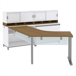 Bush BBF Momentum Right-Handed L-Desk with Glass Panels Storage 2 36W Hutches and Lateral File in Modern Cherry