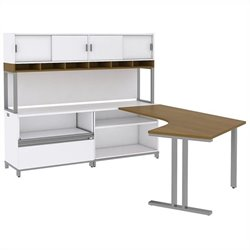 Bush BBF Momentum Left-Handed L-Desk with 30H Storage and 72W Hutch in Modern Cherry