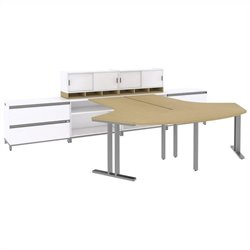 Bush BBF Momentum 2 Person Workstation with Storage in Natural Maple