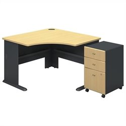 Bush Business Series A Corner Desk with Pedestal in Beech