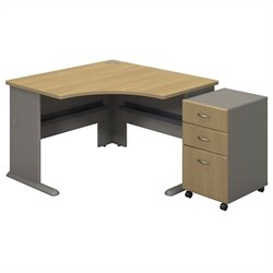 Bush BBF Series A Corner Desk with Pedestal in Light Oak