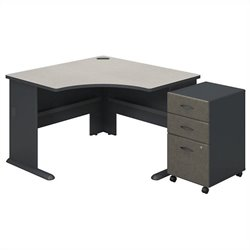 Bush BBF Series A Corner Desk with Pedestal in Slate White Spectrum