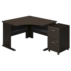 Bush BBF Series A Corner Desk with Pedestal in Sienna Walnut