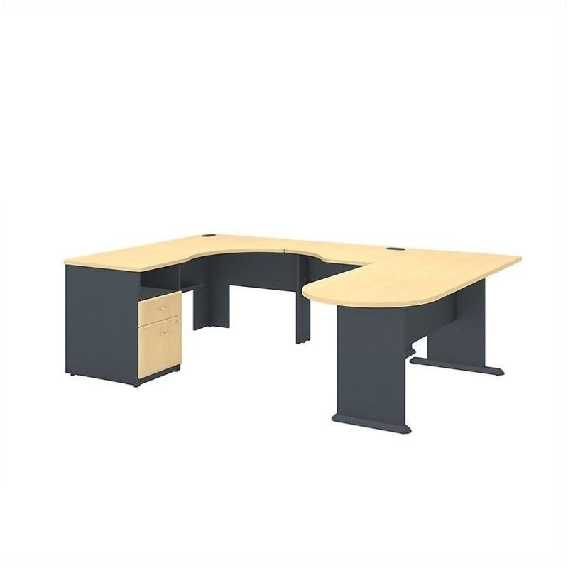 Series A U Shaped Corner Desk with Peninsula and Storage in Beech