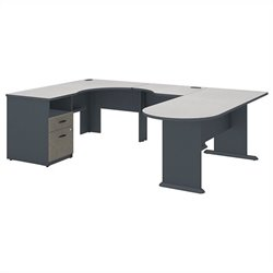 Bush BBF Series A Single Ped U-Shaped Desk in Slate White Spectrum