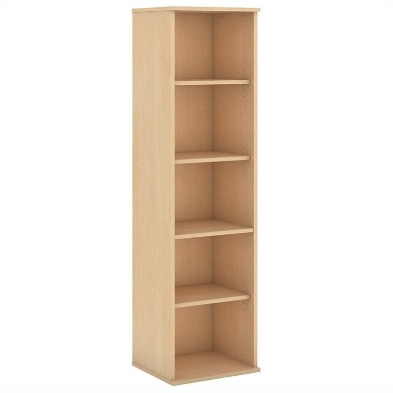 Bush Business Furniture 66H 5 Shelf Narrow Bookcase in Natural Maple