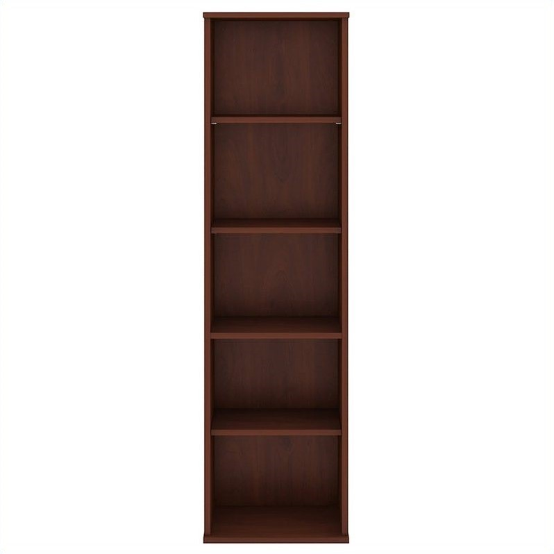 Bush Business Furniture 66H 5 Shelf Narrow Bookcase in Hansen Cherry