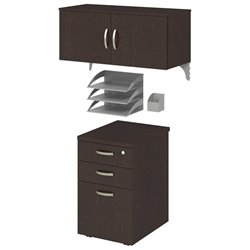 Bush BBF Office-in-an-Hour 3 Piece Storage Kit in Mocha Cherry