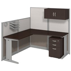 Bush BBF Office-in-an-Hour L Workstation with Storage in Mocha Cherry