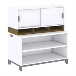 Bush BBF Momentum 2 Shelf Bookcase with Hutch in Modern Cherry