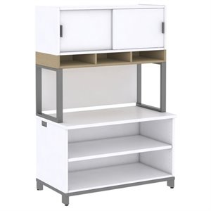 Momentum 2 Shelf Bookcase with Hutch on Riser I