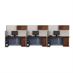 Bush BBF Office-in-an-Hour 3 Desk Workstation in Hansen Cherry