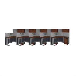 Bush BBF Office-in-an-Hour 5 Desk L-Shaped Cubicles in Hansen Cherry