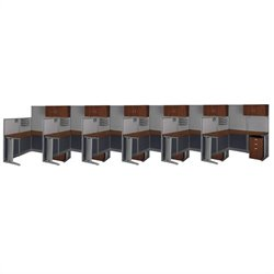 Bush BBF Office-in-an-Hour 6 Desk L-Shaped Cubicles in Hansen Cherry