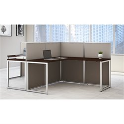 Bush Business Furniture Easy Office L Shaped Desk for 2 Mocha Cherry